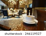 white coffee cup on the table... | Shutterstock . vector #246119527
