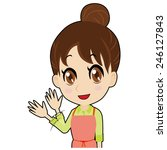young housewife who says goodbye | Shutterstock .eps vector #246127843