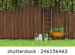 Garden With An Old Wooden Fenc...