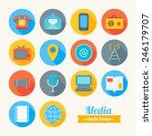 set of round flat media icons....