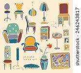 set of vector hand drawn... | Shutterstock .eps vector #246243817