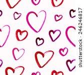 seamless watercolor heart... | Shutterstock .eps vector #246246817