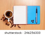 cup of hot coffee  opened... | Shutterstock . vector #246256333