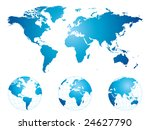 hand drawn world map and globes ... | Shutterstock .eps vector #24627790