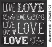 set of words. love. freehand... | Shutterstock .eps vector #246288403
