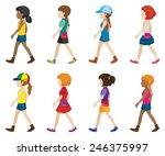 faceless young ladies walking