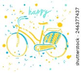 stylish hand drawn city bike on ... | Shutterstock .eps vector #246377437