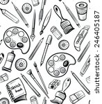seamless art tools pattern... | Shutterstock .eps vector #246405187