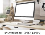 stylish workspace with computer ... | Shutterstock . vector #246413497