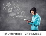 the girl reads the book and... | Shutterstock . vector #246432883