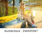 happy hipster girl with her dog ... | Shutterstock . vector #246435367