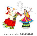 dancing rajasthani couple of... | Shutterstock .eps vector #246460747