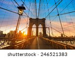 brooklyn bridge sunset new york ... | Shutterstock . vector #246521383