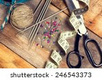 sewing kit. scissors  bobbins... | Shutterstock . vector #246543373
