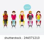 many people sitting together... | Shutterstock .eps vector #246571213