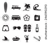 surfing icons | Shutterstock .eps vector #246590293