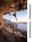 seven year old girl climbing a... | Shutterstock . vector #246606163