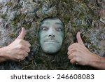 Small photo of acarus man thumbs up gesture, dust allergy concept