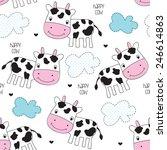 seamless happy cow pattern... | Shutterstock .eps vector #246614863