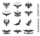 eagle silhouettes bird heraldic ... | Shutterstock .eps vector #246697447