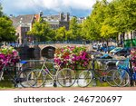 Bicycles On A Bridge Over The...