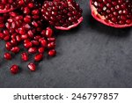 Pomegranate Seeds  Over Black...
