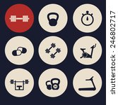 fitness icons set 4 vector...