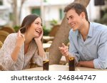 couple dating and flirting... | Shutterstock . vector #246844747