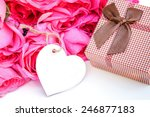 pink roses and gift with empty... | Shutterstock . vector #246877183
