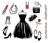 hand drawn vintage fashion set. ... | Shutterstock .eps vector #246891697