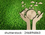 paper cut of eco on green grass | Shutterstock . vector #246896863