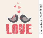 love theme card with cute birds ... | Shutterstock .eps vector #246902233