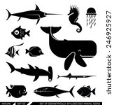 Set Of Various Sea Animal Icon...