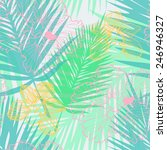 tropical pattern with palm... | Shutterstock .eps vector #246946327