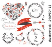 beautiful love set with elegant ... | Shutterstock .eps vector #246950413