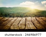 wooden table. spring design... | Shutterstock . vector #246986977