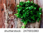 organic parsley on jute and... | Shutterstock . vector #247001083