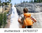 hiker hiking with backpack... | Shutterstock . vector #247020727