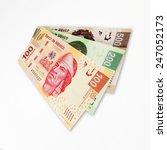 Set Of 3 Mexican Peso Bills.