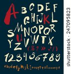alphabet and numbers hand drawn ... | Shutterstock .eps vector #247095823
