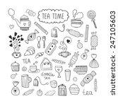tea time doodle vector set with ... | Shutterstock .eps vector #247105603