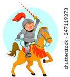 cute cartoon knight riding his... | Shutterstock .eps vector #247119373