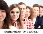 happy smiling students standing ... | Shutterstock . vector #247120537