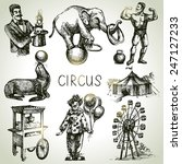 hand drawn sketch circus and... | Shutterstock .eps vector #247127233