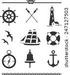 set of nautical icons and... | Shutterstock .eps vector #247127503