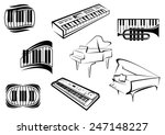 piano musical outline icons and ...   Shutterstock .eps vector #247148227
