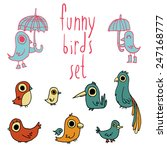 vector cartoon flat birds set...