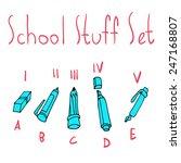 vector cartoon flat school set...
