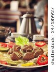 middle east cuisine. a plate of ... | Shutterstock . vector #247189927
