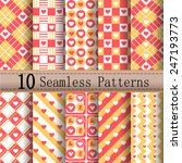 heart patterns yellow red set ... | Shutterstock .eps vector #247193773